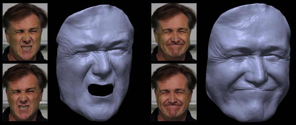 Mit dem Prinzip des optischen Flusses  kann das Gesicht eines Schauspielers mit realistischer Mimik und Gestik rekonstruiert werden (Bild: Universität Stuttgart)
